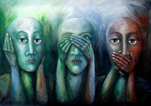LUR-art/ Therese Lurvink, Drei Affen, People: Group, Humor