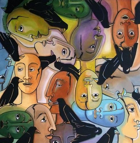 LUR-art/ Therese Lurvink, Jedem seinen Vogel, Abstract art, People: Group