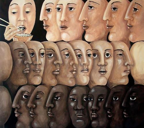 LUR-art/ Therese Lurvink, Anstehen, Miscellaneous Emotions, People: Faces