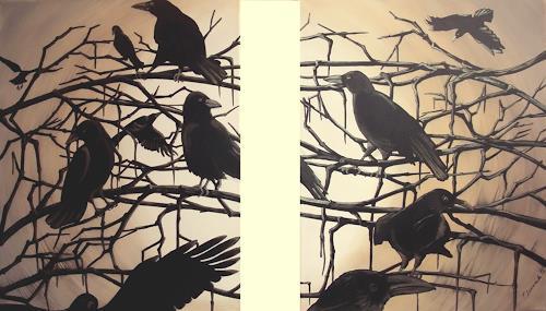 LUR-art/ Therese Lurvink, Die Krähen I+II, Nature: Wood, Animals: Air