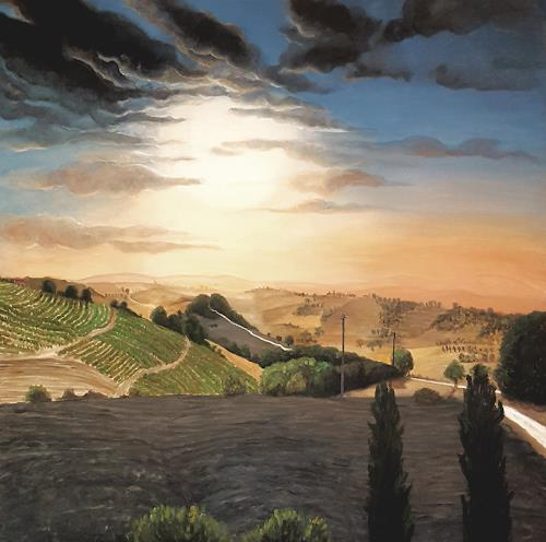 LUR-art/ Therese Lurvink, Sommer in Italien, Landscapes: Hills, Landscapes: Summer, Naturalism, Expressionism