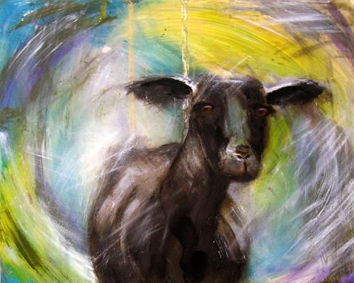 Wunderli Sabine, Schwarzes Schaf, Bild in Acryl, Animals: Land, Neo-Expressionism, Expressionism