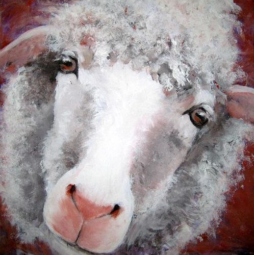 Wunderli Sabine, Schafsblick, Bild in Acryl, Animals: Land, Expressionism