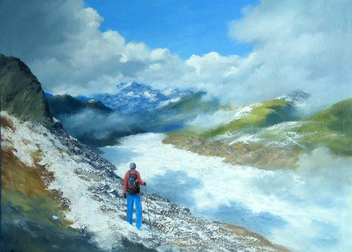 priyadarshi gautam, SIDDHARTH AT ALETSCH, Landscapes: Mountains, Nature: Earth, Impressionism, Expressionism