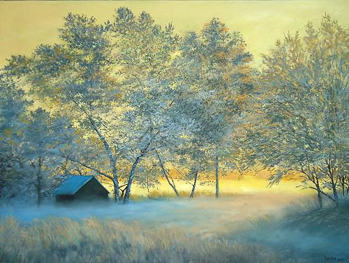 priyadarshi gautam, A WINTER VIEW AT SUNSET 2, Landscapes: Winter, Nature: Earth, Impressionism, Expressionism