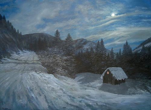 priyadarshi gautam, A WINTER VIEW AT NIGHT, Landscapes: Winter, Nature: Earth, Impressionism