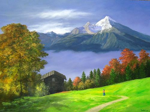 priyadarshi gautam, LANDSCAPE WITH WATZMANN PEAK, Landscapes: Mountains, Nature: Earth, Impressionism
