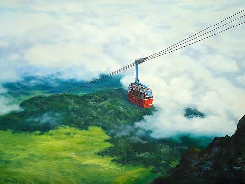 priyadarshi gautam, THE CABLE CAR 2, Landscapes: Mountains, Nature: Air, Impressionism