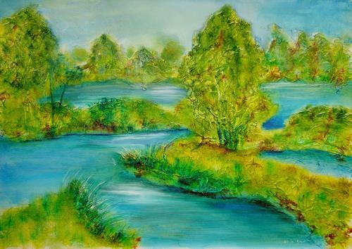 Ulrike Kröll, Flußlandschaft, Landscapes: Plains, Nature: Water, Contemporary Art
