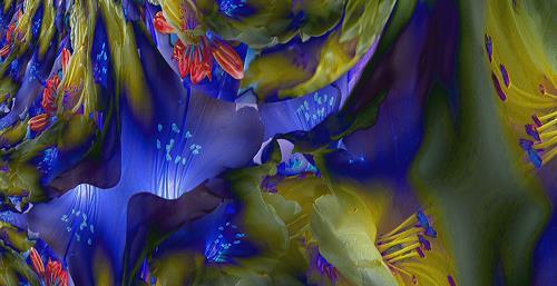 Ulrike Kröll, Blue Light - strukturiert    Digital-ART - limitiert (01/10), Plants: Flowers, Decorative Art, Modern Age, Expressionism