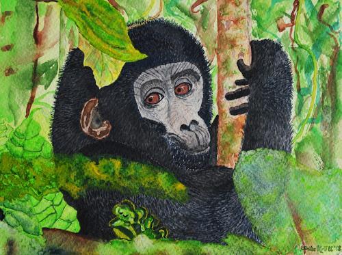 Ulrike Kröll, Blick in den Dschungel - nach Stefan Forster, Animals: Land, Decorative Art, Naturalism
