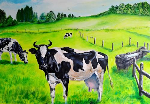 Ulrike Kröll, Glückliche Kühe, Animals: Land, Nature, Land-Art