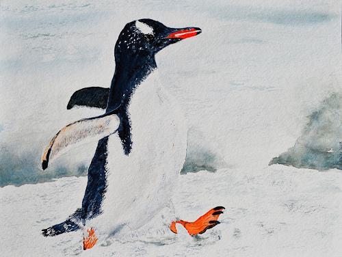 Ulrike Kröll, Mit Flossen durch den Schnee– nach Stefan Forster, Animals: Land, Landscapes: Winter, Naturalism