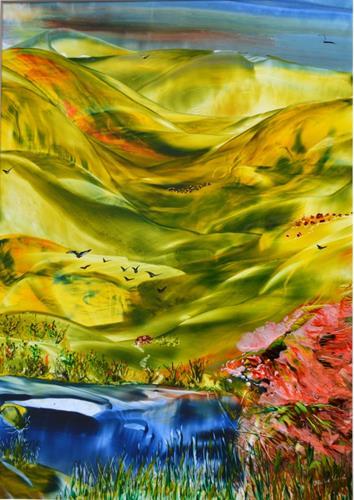 Ulrike Kröll, Weites Land, Landscapes: Hills, Landscapes: Spring, Naturalism, Expressionism