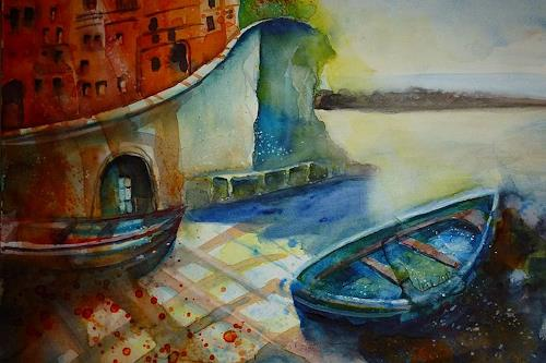Brigitte Heck, Riomaggiore, Nature: Water, Landscapes: Sea/Ocean, Contemporary Art, Expressionism