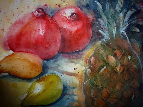 Brigitte Heck, Granatäpfel und Ananas, Still life, Meal, Contemporary Art