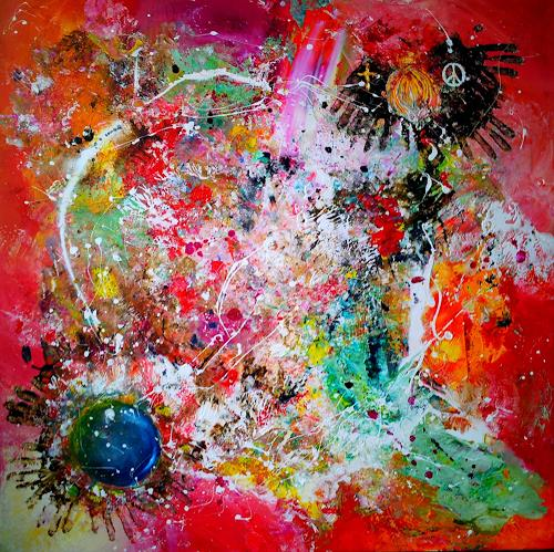 Silke Brandenstein, WE ARE ONE, Symbol, Belief, Action Painting, Abstract Expressionism