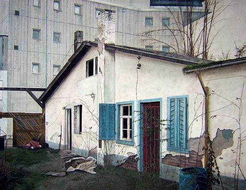 Niklas Hughes, Verlassenes Häusschen in der Mainzer Bahnhofsgegend, Industry  , Realism, Abstract Expressionism