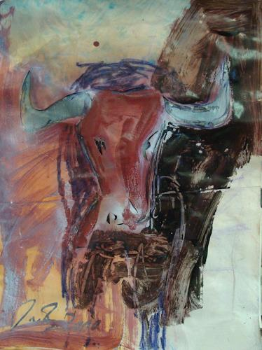 Dirk von Burgsdorff, Stier, Animals: Land, Hunting, Contemporary Art, Abstract Expressionism
