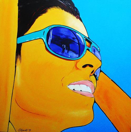 Detlev Eilhardt, Sunglasses II, People: Women, Emotions: Joy, Op-Art, Expressionism