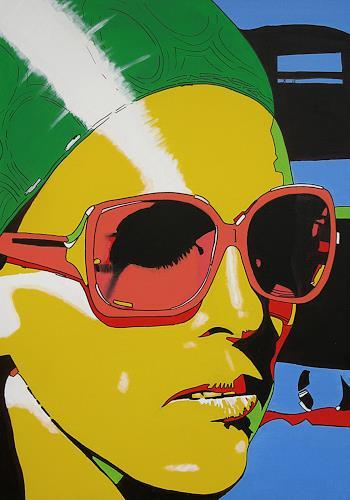 Detlev Eilhardt, Sunglasses IV compressed, People: Women, People: Faces, Pop-Art, Expressionism