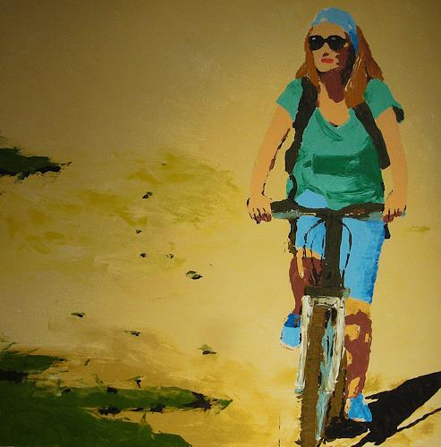 Detlev Eilhardt, Porquerolles, People: Women, Traffic: Bicycle, Pop-Art, Expressionism