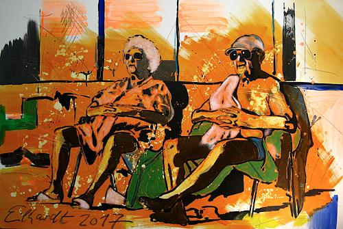 Detlev Eilhardt, SUNBATHER, People: Couples, Leisure, Pop-Art, Abstract Expressionism
