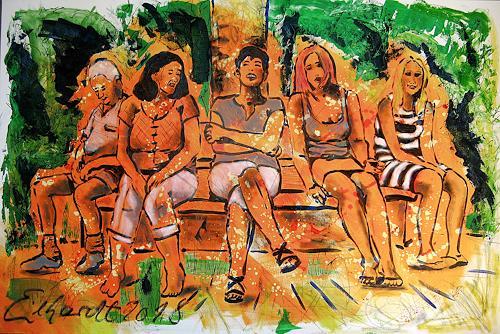 Detlev Eilhardt, THE BENCH, People: Group, Landscapes: Summer, Post-Impressionism