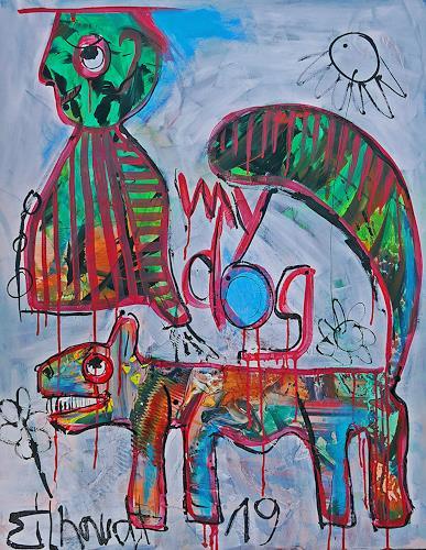 Detlev Eilhardt, Mein Hund ist eine Katze, Burlesque, Humor, Neo-Expressionism, Abstract Expressionism