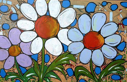 Detlev Eilhardt, Wassertropfen, Plants: Flowers, Landscapes: Spring, Pop-Art, Expressionism