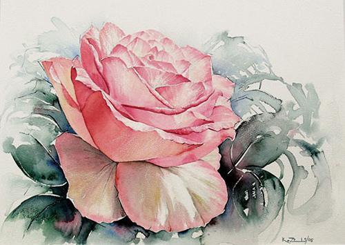 Konrad Zimmerli, Rose, Plants: Flowers, Decorative Art, Abstract Art