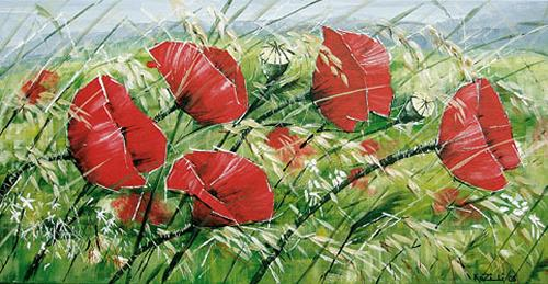Konrad Zimmerli, Mohnblumen, Plants: Flowers, Decorative Art, Expressionism