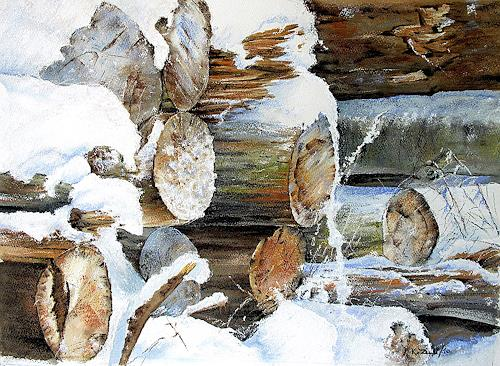 Konrad Zimmerli, Holzhaufen, Landscapes: Winter, Miscellaneous, Abstract Art