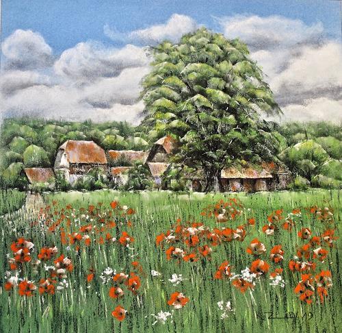 Konrad Zimmerli, Sommertag, Landscapes: Summer, Plants: Flowers, Naturalism