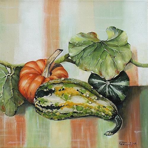 Konrad Zimmerli, Kürbisse I, Still life, Harvest, Abstract Art