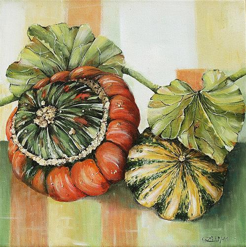 Konrad Zimmerli, Kürbisse II, Harvest, Still life, Abstract Art