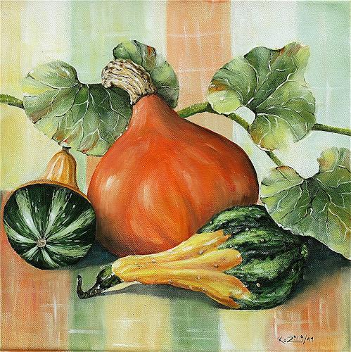 Konrad Zimmerli, Kürbisse III, Still life, Harvest, Abstract Art