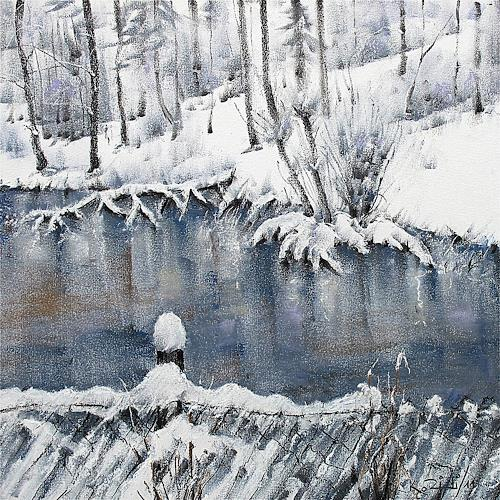 Konrad Zimmerli, Weiher, Landscapes: Winter, Nature: Water, Abstract Art, Expressionism