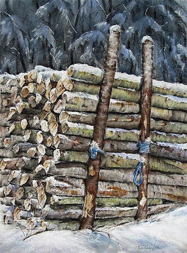 Konrad Zimmerli, Holz, Landscapes: Winter, Nature: Wood, Expressionism