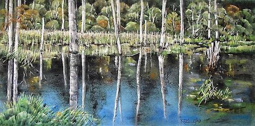Konrad Zimmerli, Spiegelung, Landscapes: Autumn, Nature: Water, Naturalism, Expressionism