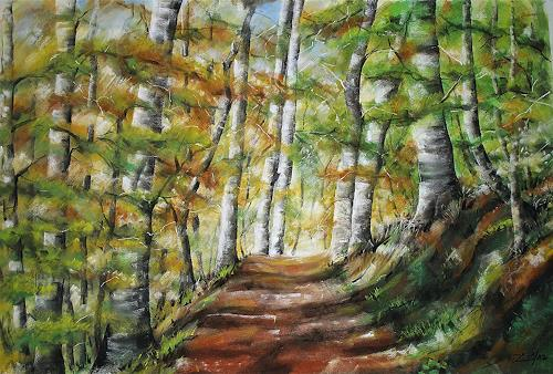 Konrad Zimmerli, Der Waldweg, Landscapes: Autumn, Nature: Wood, Abstract Art, Expressionism