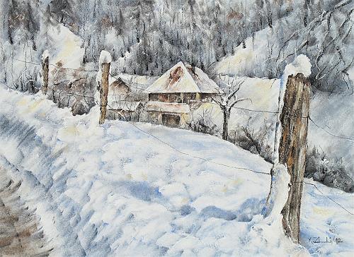 Konrad Zimmerli, In der Bachthalen, Landscapes: Winter, Nature: Wood, Impressionism