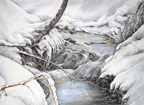 Konrad Zimmerli, Winterzauber, Landscapes: Winter, Nature: Water, Impressionism, Expressionism