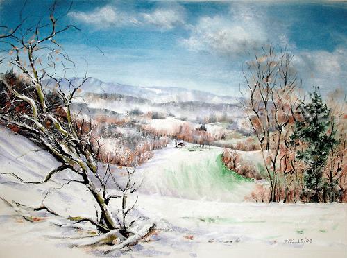 Konrad Zimmerli, Hochwacht, Landscapes: Winter, Nature: Wood, Abstract Art, Expressionism