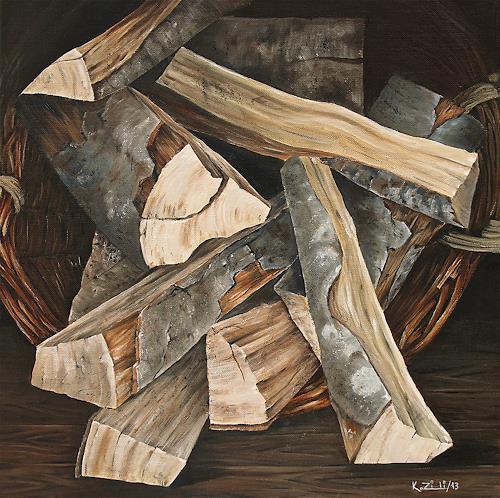 Konrad Zimmerli, Holzkorb, Nature: Wood, Still life, Naturalism, Expressionism