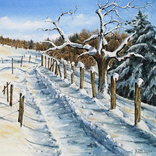 Konrad Zimmerli, Wintertag, Landscapes: Winter, Nature: Wood, Abstract Art, Expressionism