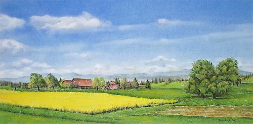 Konrad Zimmerli, Frühlingsfarben, Landscapes: Spring, Landscapes: Plains, Naturalism