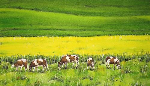 Konrad Zimmerli, Auf der Weide, Landscapes: Spring, Miscellaneous Animals, Naturalism