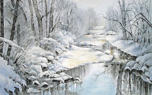 Konrad Zimmerli, An der Wigger, Landscapes: Winter, Nature: Water, Abstract Art