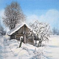 Konrad-Zimmerli-Landscapes-Winter-Buildings-Houses-Modern-Age-Abstract-Art